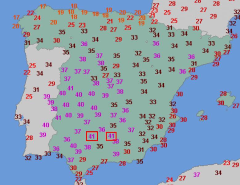 Temperatura w Hiszpanii (wtorek 13.06.)