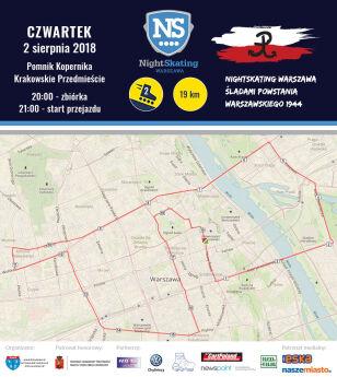 Mapa przejazdu rolkarzy Nightskating Warszawa