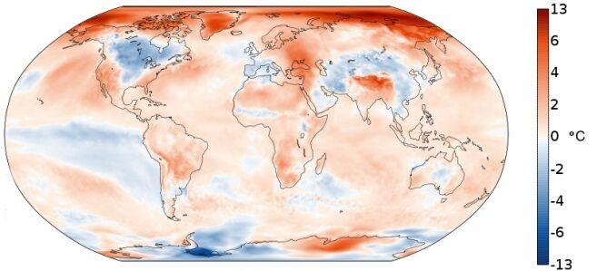 Październikowe anomalie temperatury na świecie wobec średniej wieloletniej dla tego miesiąca (Copernicus Climate Change Service/ECMWF)