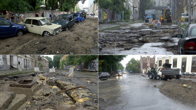 Woda sięgała zderzaków. Odessa po ulewach