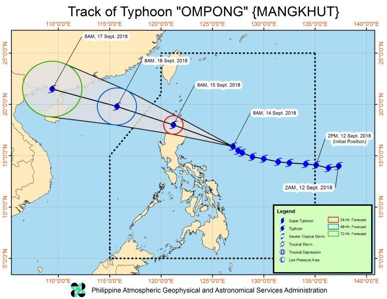 Prognozowana trasa przejścia tajfunu Mangkhut (PAGASA)