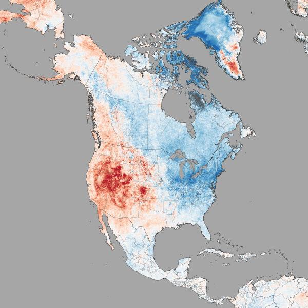 Odchylenie średniej temperatury podłoża w lutym 2015 roku od średniej wieloletniej
