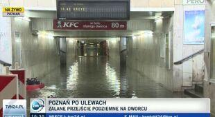 Zalane przejście podziemne na dworcu w Poznaniu